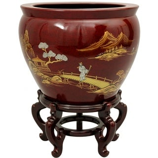 "Handmade Lacquered Porcelain Fishbowl (China) - 13.25""H x 16"" Diameter"