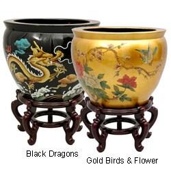 Handmade Lacquered Porcelain Fishbowl (China)