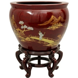 Handmade Lacquered Porcelain Fishbowl (China)