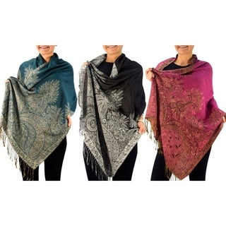 Link to Elegant Paisley Border Pattern Pashmina Shawl Scarf Similar Items in Scarves & Wraps