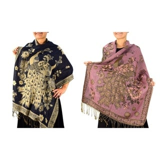 Link to Floral Peacock Reversible Pashmina Wrap Shawl Similar Items in Scarves & Wraps