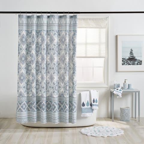 Porch & Den Crystal Creek Blue Medallion Shower Curtain