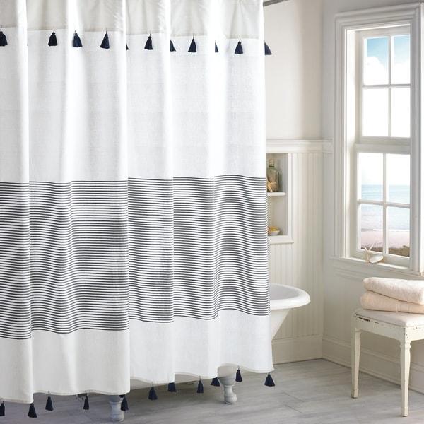 Shop Vera Wang Linear Blue Stripe Shower Curtain