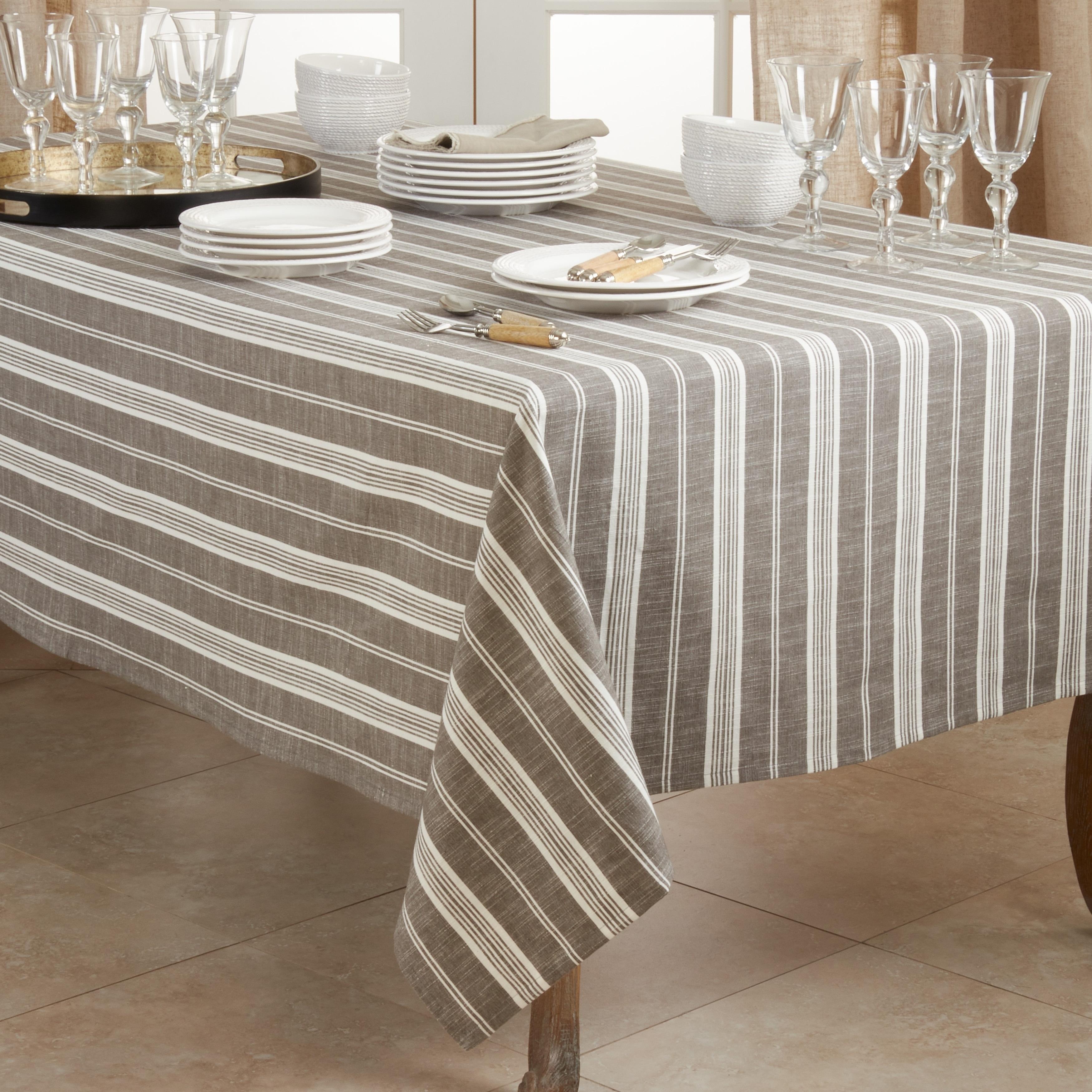 Tablecloth Rectangle Ready to Ship: Striped Tablecloth Green and brown striped tablecloth Scandinavian design Linen Table Cloth