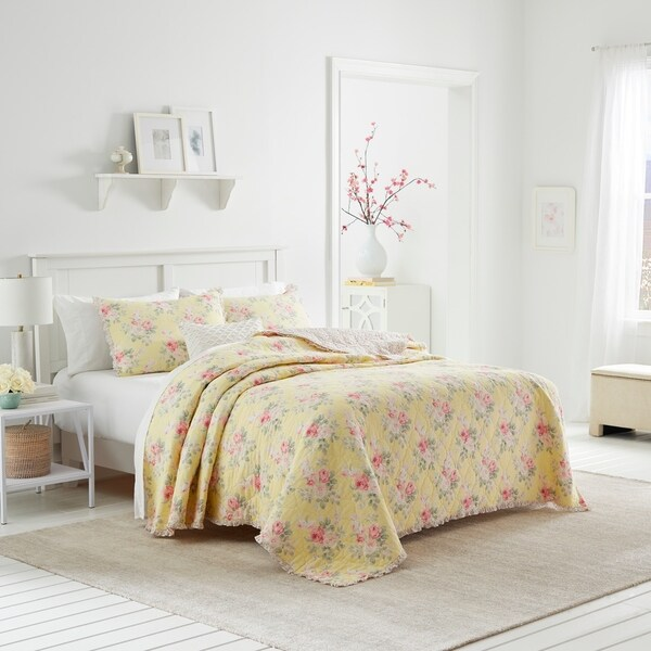 Laura Ashley Melany Ruffled Yellow Quilt and Coordinating Sham Separates (As Is Item)