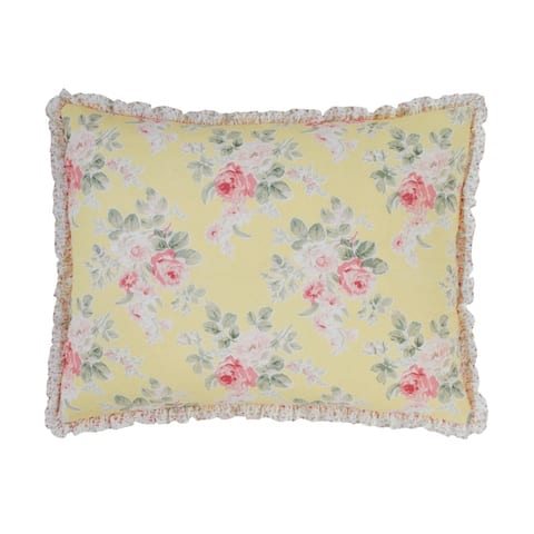 Laura Ashley Melany Ruffled Yellow Quilt and Coordinating Sham Separates