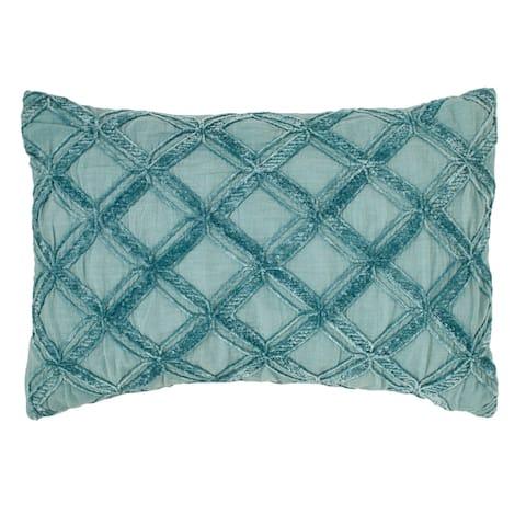 Tommy Bahama Island Essentials Chenille Diamond Blue Throw Pillow