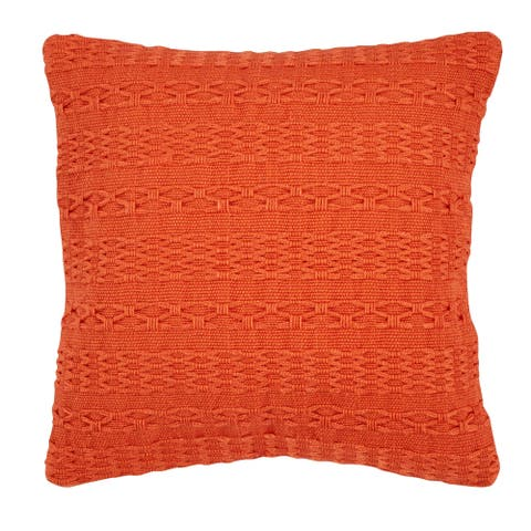 Tommy Bahama Island Essentials Cross Weave Orange Throw Pillow
