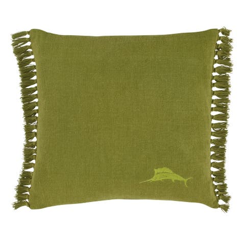 Tommy Bahama Island Essentials Canvas Fringe Green Throw Pillow