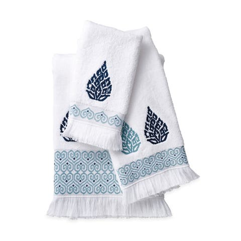 Porch & Den Crystal Creek Blue Medallion Bath Towel