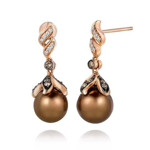 Encore by Le Vian 14K Rose Gold Chocolate Pearls®, 1/5 ct Chocolate Diamonds® & 1/20 cts. Vanilla Diamonds® Earring