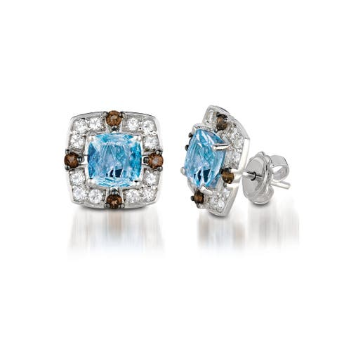 Encore by Le Vian 14K White Gold 2 ct Blue Topaz, 1/6 ct Chocolate Quartz® & 3/8 ct of Vanilla Topaz Earring