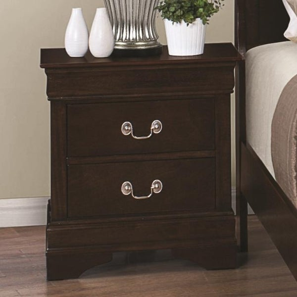 Transitional 2-drawer Nightstand, Cappuccino