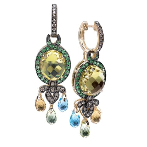 Encore by Le Vian 14K Yellow Gold Multi- Gemstone Dangle Earrings