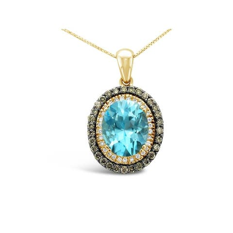 Encore by Le Vian 14K Yellow Gold 3 ct Ocean Blue Topaz, 3/8 ct Chocolate Diamonds, 1/10 ct Vanilla Diamonds Pendant