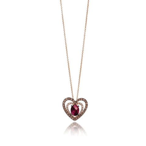 Encore by Le Vian 14K Yellow Gold 1 ct Raspberry Rhodolite®, 1/2 ct Chocolate Diamonds & 1/6 ct Vanilla Diamonds Pendant