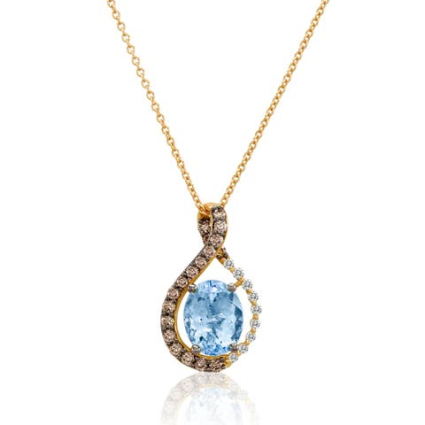Encore by Le Vian 14K Rose Gold Sea Blue Aquamarine 1 3/8 CT, Chocolate Diamonds 1/3 CT & Vanilla Diamonds 1/15 CT Pendant