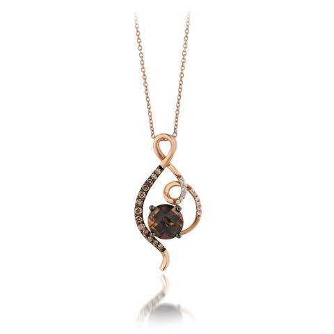 Encore by Le Vian 14K Rose Gold 1 5/8 ct Chocolate Quartz, 1/5 ct Chocolate Diamonds, 1/20 ct Vanilla Diamonds Pendant