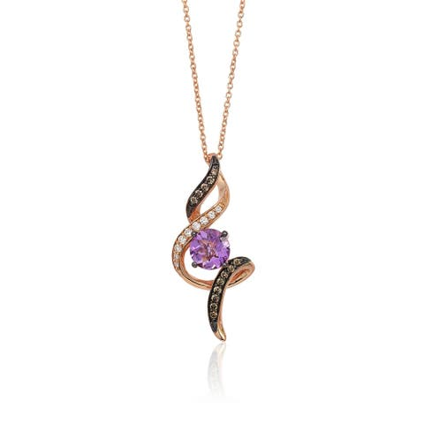 Encore by Le Vian 14K Rose Gold 1 cts. Grape Amethyst, 1/10 ct Vanilla Diamonds & 1/8 ct Chocolate Diamonds Pendant