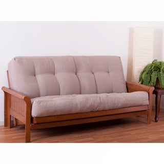 porch  u0026 den wolfchase guthrie 10 inch full size futon mattress micro suede futon cover with double cording   free shipping today      rh   overstock