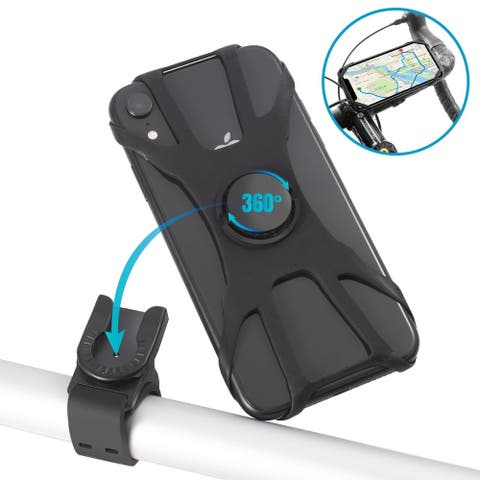 Universal Bike Phone Mount for Motorcycle Bicycle Handlebars, 360° Rotatable and Adjustable, Fits iPhone 11/X/XR/XS