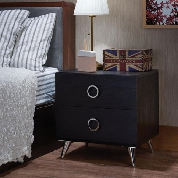 Nightstand, One Size, Black/Chrome