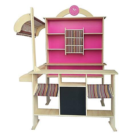 Kid Education Toys Wooden Shop Market Shopping Pretend Play Set Pink