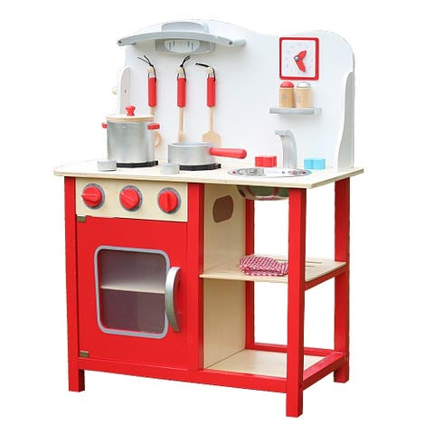 Wood Kitchen Toy Kids Cooking Pretend Play Set with Kitchenware Red