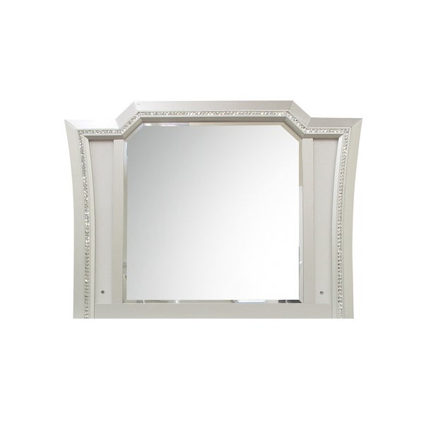 Elegant Mirror with Crystal Sparkling Trim and Led Lights, Silver