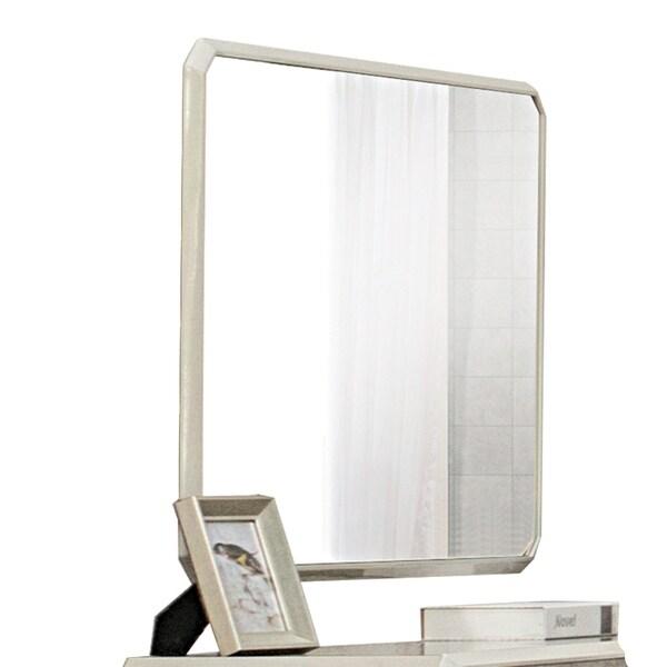 Wooden Framed Contemporary Mirror, Beige
