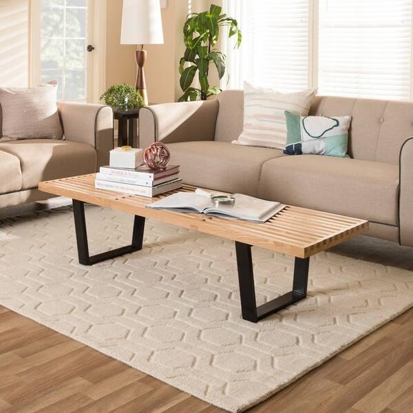 Astonishing Shop Baxton Studio Natural Wood Slat Bench Free Shipping Andrewgaddart Wooden Chair Designs For Living Room Andrewgaddartcom