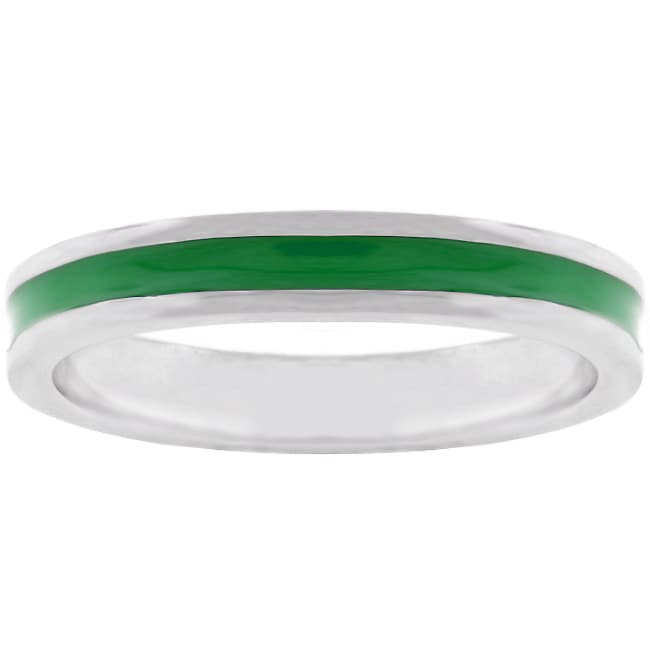Kate Bissett Silvertone Pastel Dark Green Enamel Eternity Band