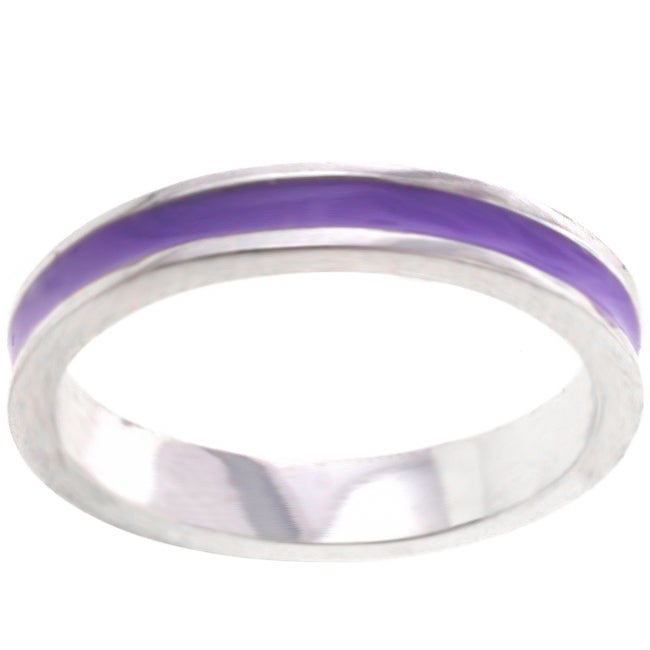 Kate Bissett Silvertone Pastel Purple Enamel Eternity Band