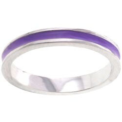 Kate Bissett Silvertone Pastel Purple Enamel Eternity Band