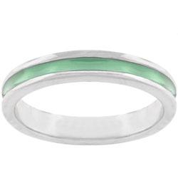 Kate Bissett Silvertone Pastel Mint Green Enamel Eternity Band