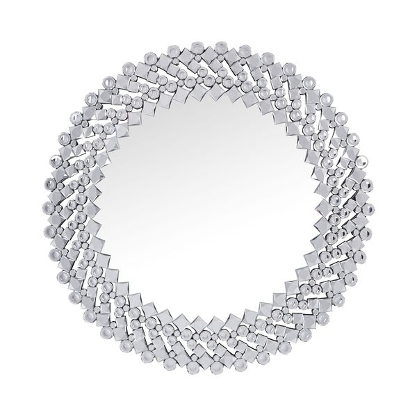 Sparkling Wall Decor with Beveled Finish and Faux Gem Inlay, Silver