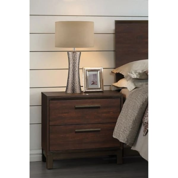 2-drawer Nightstand Rustic Tobacco and Dark Bronze