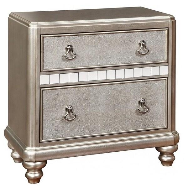 2-drawer with Stacked Bun Feet Nightstand Metallic Platinum
