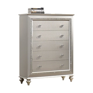 Link to 5 Drawer Spacious Chest with Mirror Beveled Pulls and Bun Feet, Silver Similar Items in Dressers & Chests