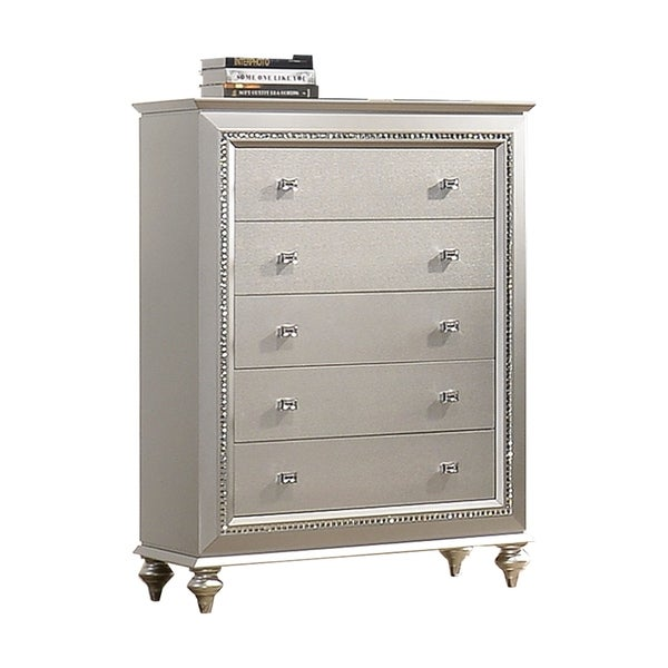 5 Drawer Spacious Chest with Mirror Beveled Pulls and Bun Feet, Silver. Opens flyout.