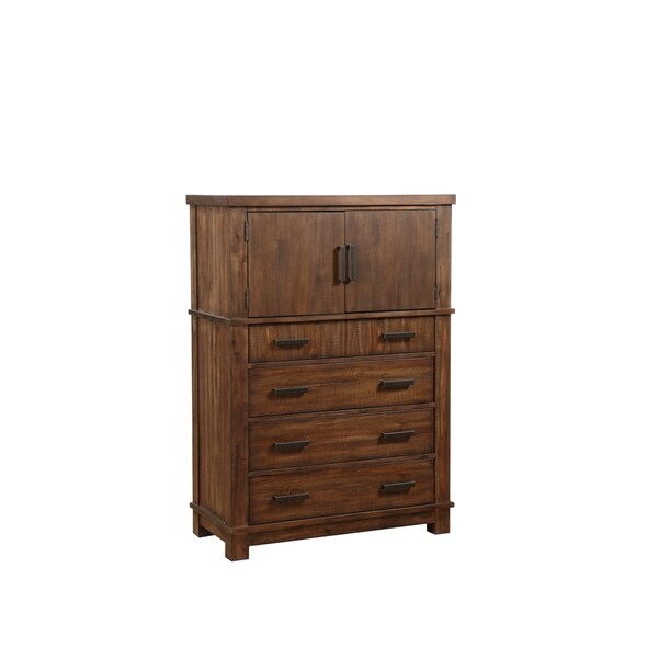 4 Drawer Spacious Wooden Chest with 2 Doors and Metal Handles, Brown