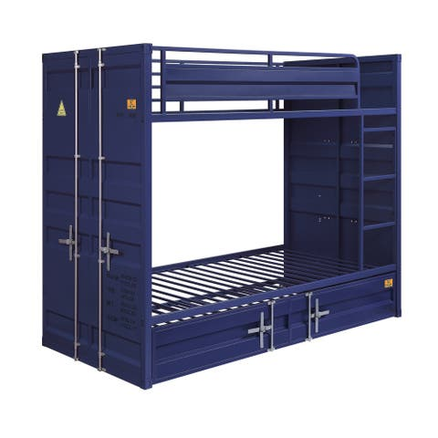 Gunmetal Gray Finish Twin Turdle with Metal Frame and Slat system, Blue