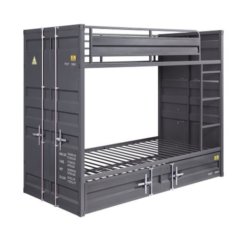 Gunmetal Gray Finish Twin Turdle with Metal Frame and Slat system, Gray