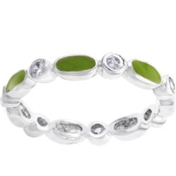 Kate Bissett Stackable Silvertone Lime Green Enamel and CZ Eternity Band