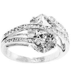 Kate Bissett Sterling Silver Contemporary Marquis CZ Cocktail Ring