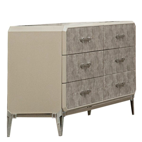 Wooden 6 Drawer Dresser with Belt Handles and Tapered Legs, Beige