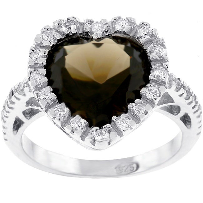 Kate Bissett Sterling Silver Brown CZ Heart Ring