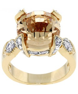 Kate Bissett Goldtone Champagne Cubic Zirconia Engagement Ring