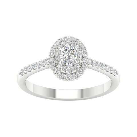 1/2ct TDW Diamond Double Halo Ring in 10k Gold by De Couer