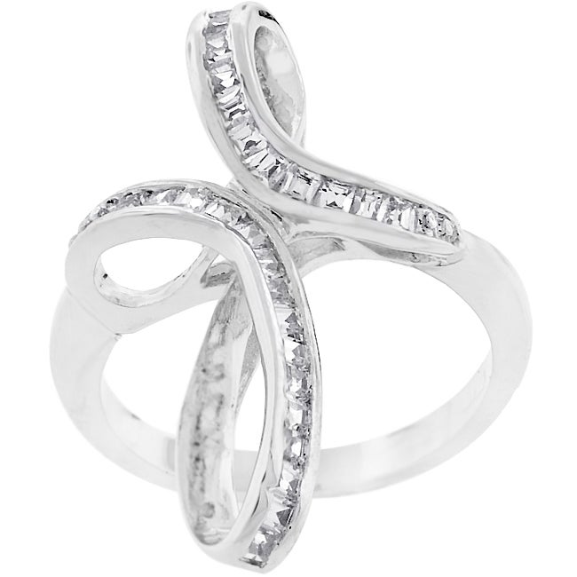 Kate Bissett Silvertone Fashion Cross-twisted CZ Ring